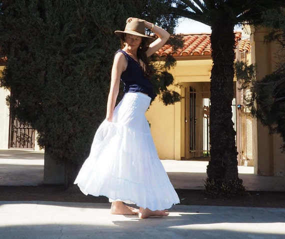 Gauze Tiered Skirt in WHITE // Pockets, Natural Fiber, Flexible Waistband, Breathable Elegance!