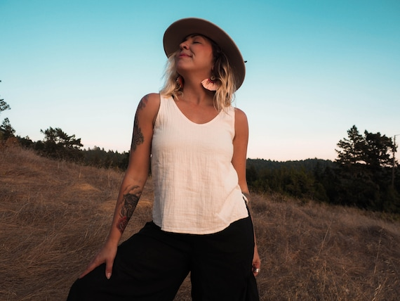 Audrey Tank in CREME NATURAL // 100% Cotton Natural Fiber Breathable Classic Tank // Summer Favorite Breathe Elegantly