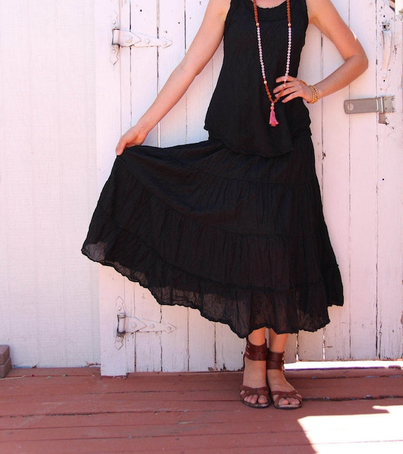 Gauze Tiered Skirt in BLACK // Natural Fiber, Flexible Waistband, Breathable Elegance!