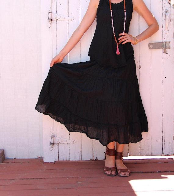 Gauze Tiered Skirt in BLACK // Natural Fiber, Flexible Waistband, Breathable Elegance!