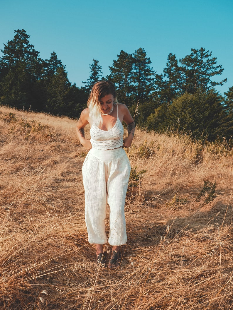 Dakini Yoga Pant in Creme Natural  Luxe Cotton Pockets  Stretch Fully Breathe Like a Queen