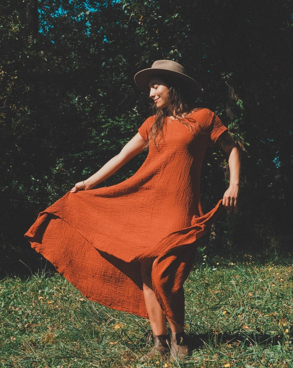 Softest Tee Dress in RUST // Breathable Cotton T-Shirt Dress // Wrap yourself in a Thousand Kisses