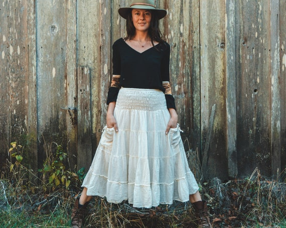 Gauze Tiered Skirt in CREAM // Natural Fiber, Flexible Waistband, Slip / Breathable Elegance!