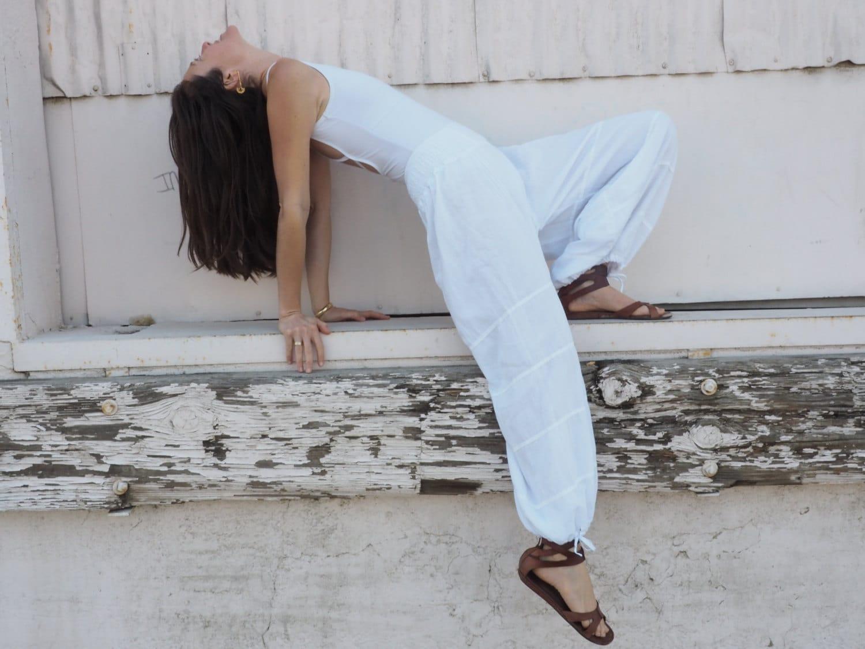 Natural Yoga Pants In White Flexible Waistband Natural