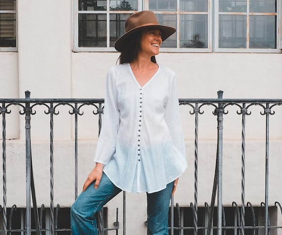 Cotton Button-Down Top in WHITE // Natural Fiber, Weightless, Breathable / A Classic!
