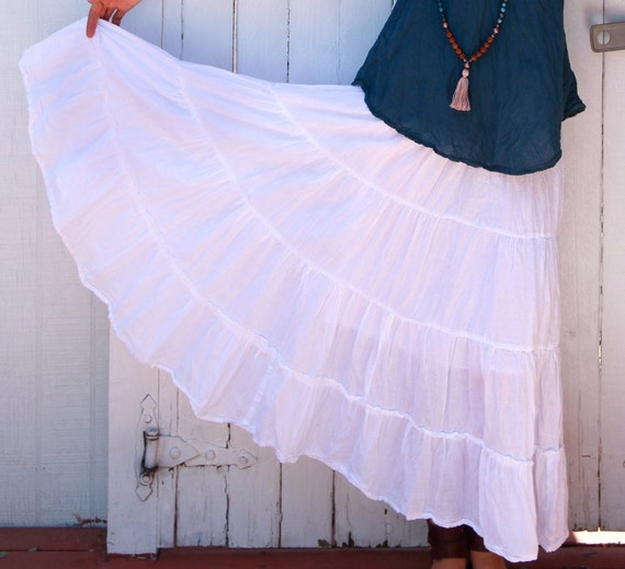 Gauze Tiered Skirt in WHITE // Natural Fiber, Flexible Waistband, Breathable Elegance!