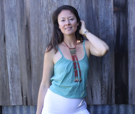 Gauze Fairy Tank in MINT // Braided Straps, Natural Fiber, Weightless, Convertible Fun!