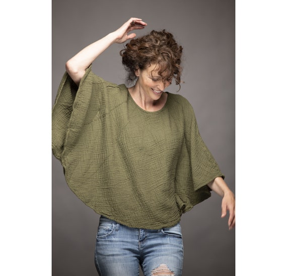 Cotton Poncho-Style Sleeved Top in OLIVE // Fluffy, Breathable, Free-Moving Elegance!