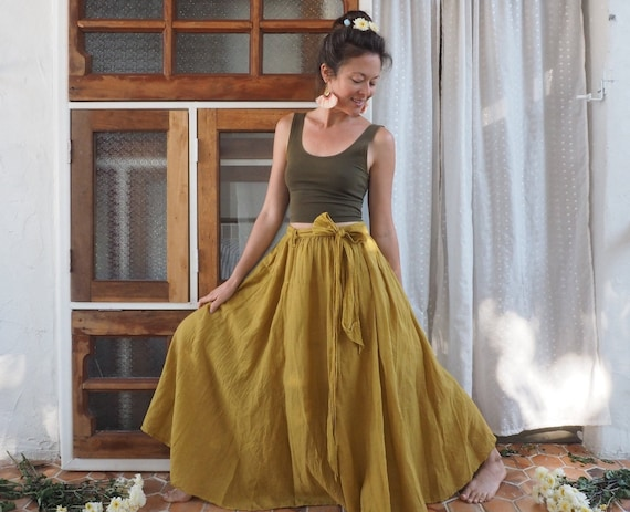 The Athena in GOLD // Gauze Cotton Skirt // Light, Flowy, Playfully Elegant Summer Skirt // You are a Gift!