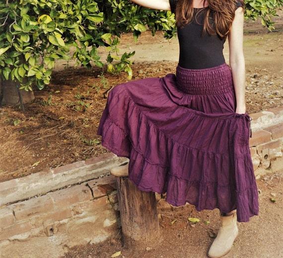 Gauze Tiered Skirt in EGGPLANT // Pockets, Natural Fiber, Flexible Waistband / Breathable Elegance!