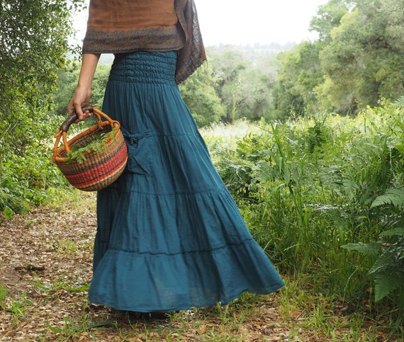 Gauze Tiered Skirt in OCEAN // Pockets, Natural Fiber, Flexible Waistband / Breathable Elegance!