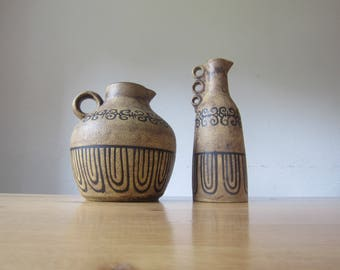 "Ceramano - art pottery mid century modern 60s set jar 225 + jug 224 ""Etrusca"" decor"