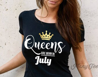 Mens Fashion Graphic Tank Top Gold Design Queens are Born in July