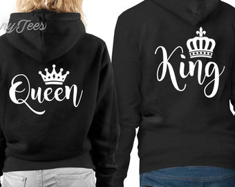 King and queen hoodie king and queen sweatshirts king and queen hoodies king and queen sweaters couples hoodies valentines day gift