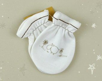 Organic Baby Mittens, Cute Newborn Mittens, Baby Girl Gift, Baby Gloves, Organic Accessories, Printed Mittens, Cute Mittens, Sheep print