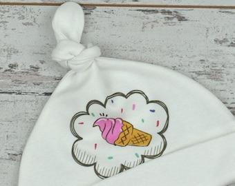Ice Cream Design, Organic Baby Hat, Newborn Gift, Baby Beanie Hat, Baby Hat, Printed Hat