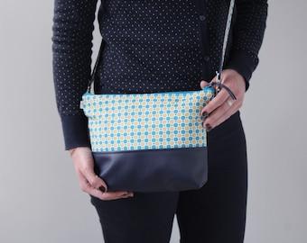 Clutch women shoulder bag removable faux leather/Navy blue cotton printed geometric turquoise pop