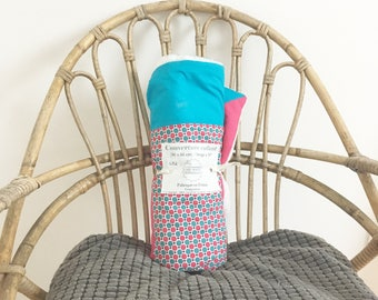 Minky baby blanket and printed fabric pink and turquoise pop