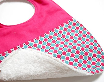 Terry baby bib and printed pink and turquoise pop