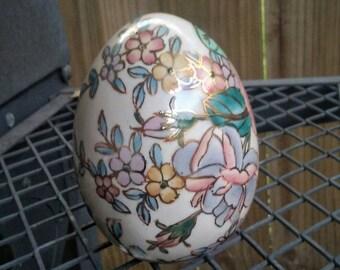 Large Ceramic Decorative Egg/ Vintage Ostara Egg/ Ceramic Easter Egg