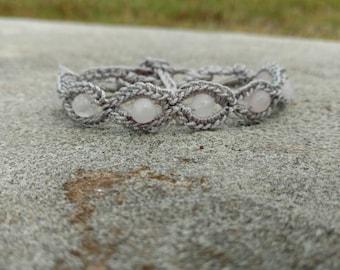 Rose quartz beaded crocheted bracelet