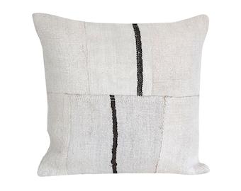 16x16 Handmade Pillow Accent Pillow Hemp Decorative Pillow Turkish Pillow Striped Hemp Pillow Vintage Pillow Throw Pillow