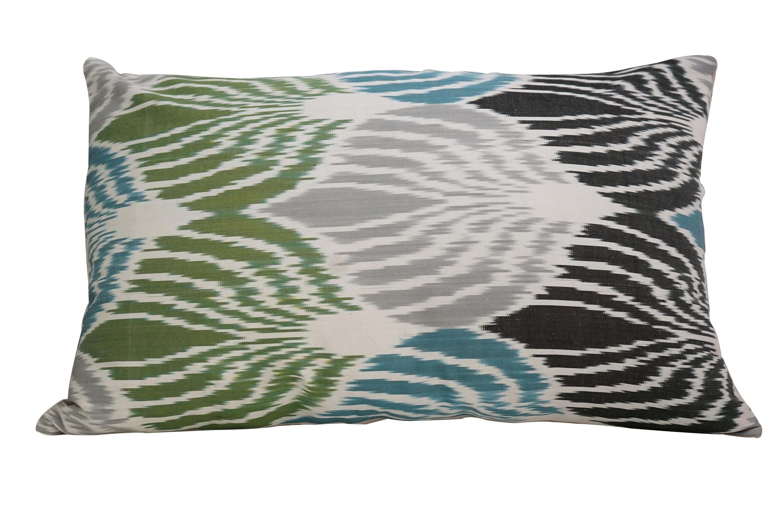 Silk Ikat Pillows Sage Green Pillow Cover Velvet Ikat Etsy