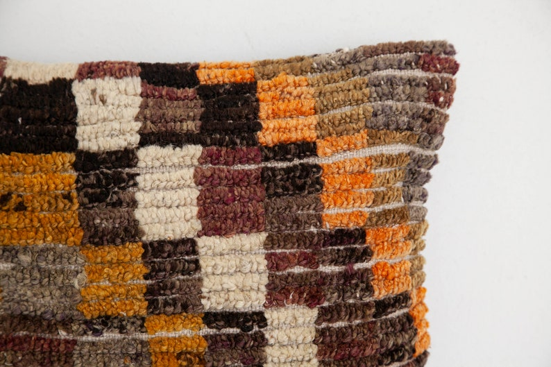 orange vintage Turkish rug pillow cover 16x16 in. Brown beige