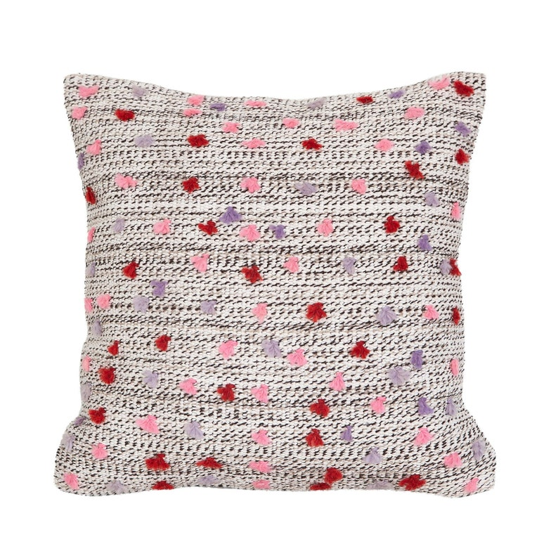 lilac tassel pillow  wool kilim pillow  decorative pillow cover 20x20 in. red Pink