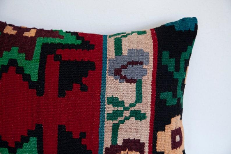 Green black red hues floral wool kilim lumbar pillow 14X20 in