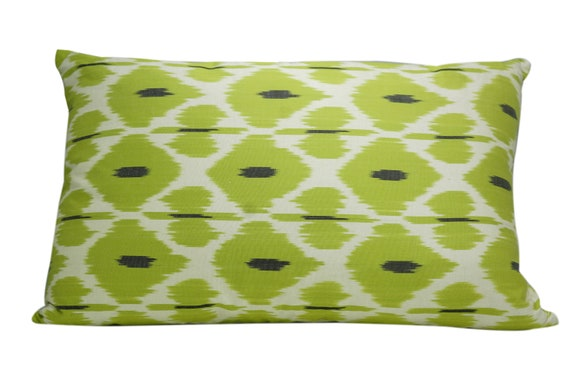 Stupendous Ikat Silk Pillow Cover Apple Green Pillows Ikat Lumbar Pillow Couch Lumbar Pillow Throw Pillow Cover Valentines T 14 X 22 Inches Beatyapartments Chair Design Images Beatyapartmentscom