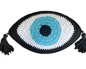 Evil eye cushion Evil eye crochet pillow with tassels Valentines Day Gift Boho throw pillow
