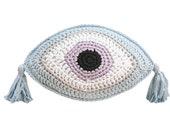 Crochet pillow Evil eye pillow Throw pillow Lumbar pillow Greek eye pillow Evil eye cushion Evil eye crochet pillow 10x16 in.