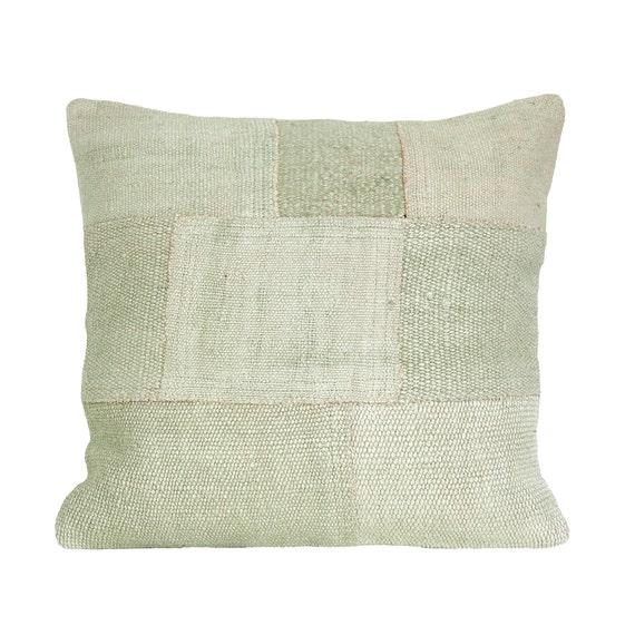 Light grey hues hemp kilim pillow  throw pillow  vintage kilim pillow  hemp patchwork pillow cover 20x20 in.