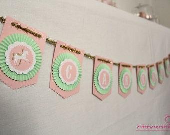 "Custom Garland - themed ""Princess Carousel"" - birthday, christening, wedding"