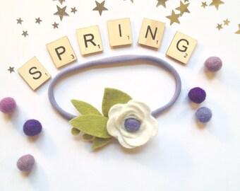 Spring Flower Headband - Felt Flower Headband - Baby Headband - Felt Flowers - Baby Shower - Newborn Headband - Baby Gift - Flower Headband