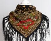 vintage Square scarf, folk scarf, warm wool scarf, women scarf shawl 77cm 30 quot fringe scarf boho scarf black red olive green HOLE