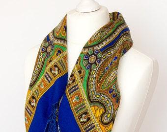 """vintage Square scarf, retro scarf, polyester scarf, fabric women scarf shawl 75cm / 30"""" fringe scarf folk boho scarf blue cobalt green"""