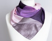 vintage scarf, Square scarf, plaid scarf, polyester scarf, women scarf 68cm 26 quot geometric scarf purple pink