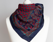 vintage scarf, Square scarf, autumn fall scarf, wool scarf, women scarf shawl 74cm 29 quot warm folk etno dark navy blue red teal