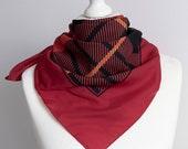 vintage scarf, Square scarf, striped scarf, plaid scarf, polyester scarf, women scarf shawl 77cm 30 quot geometric scarf, burgundy red black