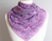 vintage Square scarf, geometric scarf, plaid scarf, silk scarf, women scarf shawl, wrap scarf 77cm 30 quot purple pink