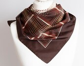 vintage scarf, Square scarf, plaid scarf, polyester scarf, women scarf 76cm 30 quot geometric scarf brown beige