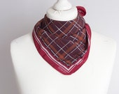 vintage Square scarf, plaid scarf, polyester scarf, women scarf shawl 49cm 19 quot geometric scarf purple red