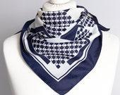 vintage scarf, Square scarf, plaid scarf, polyester striped scarf, women scarf 67cm 26 quot geometric scarf dark navy blue white 70 39