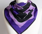 Vintage scarf, Square scarf, geometric scarf, polyester scarf, women scarf 75cm 30 quot op art scarf purple black