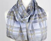 vintage Long scarf, plaid rectangle scarf, check silk scarf, women scarf shawl 35x160cm 14x63 quot blue gray beige