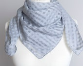 vintage scarf, Square scarf, plaid scarf, sheer polyester scarf, women scarf 88cm 34 quot geometric scarf gray STAINS