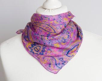 4d461f0a03e7bc vintage Square scarf, oriental batik scarf, silk scarf, women scarf shawl  51cm / 20