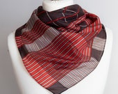 vintage Square scarf, geometric silk scarf, plaid scarf, delicate women scarf shawl 77cm 30 quot striped scarf brown red